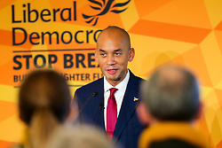 © Licensed to London News Pictures. 25/11/2019. Watford,  Hertfordshire UK. Liberal Democrat Foreign Affairs Spokesman and candidate of Cities of London & Westminster, CHUKA UMUNNA speaks to party activists and supporters at Watford Football Club on Liberal Democrat foreign policy ahead of the NATO Leaders Conference. The Liberal Democrats' commit to spending 2% of Gross Domestic Product (GDP) ondefence, as mandated by NATO. Photo credit: Dinendra Haria/LNP