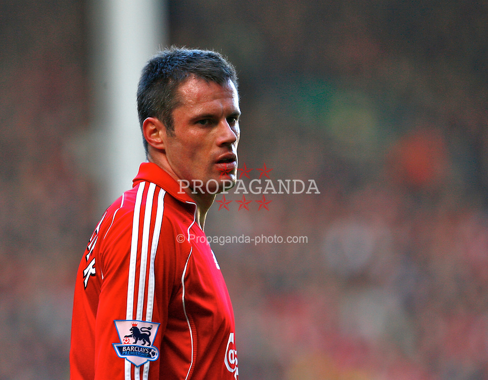 Liverpool, England - Saturday, March 3, 2007:  Liverpool's Jamie Carragher in action against Manchester United during the Premiership match at Anfield. (Pic by David Rawcliffe/Propaganda)