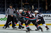 KELOWNA, CANADA - NOVEMBER 28: Milos Roman #40 of the Vancouver Giants skates for the puck after the face-off during second period against the Kelowna Rockets on November 28, 2018 at Prospera Place in Kelowna, British Columbia, Canada.  (Photo by Marissa Baecker/Shoot the Breeze)