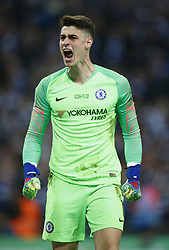 February 24, 2019 - London, England, United Kingdom - Chelsea's Kepa Arrizabalaga celebrate his penalty save.during during Carabao Cup Final between Chelsea and Manchester City at Wembley stadium , London, England on 24 Feb 2019. (Credit Image: © Action Foto Sport/NurPhoto via ZUMA Press)