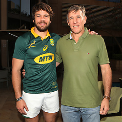DURBAN, SOUTH AFRICA - JUNE 16: Warren Whiteley (captain) with Gary Teichmann (Chief executive officer) of the Cell C Sharks during the South African national mens rugby team Captains press conference and team photograph at Garden Court Umhlanga on June 16, 2017 in Durban, South Africa. (Photo by Steve Haag/Gallo Images)