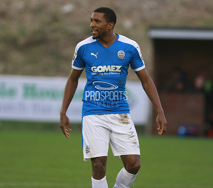 Dover defender Tyrone Sterling during the FA Trophy match between Whitehawk FC and Dover Athletic at the Enclosed Ground, Whitehawk, United Kingdom on 12 December 2015. Photo by Bennett Dean.