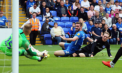 Jason Naismith of Peterborough United  watches his shot saved by Craig MacGillivray of Portsmouth - Mandatory by-line: Joe Dent/JMP - 15/09/2018 - FOOTBALL - ABAX Stadium - Peterborough, England - Peterborough United v Portsmouth - Sky Bet League One