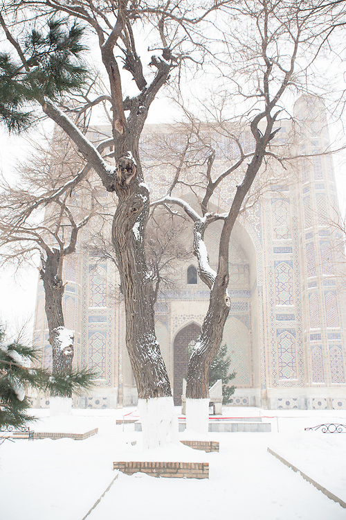 Snow on the Silk Road: through the snowy trees to the entrance to the Bibi-Khanym Mosque, Samarkand. Feb 5-6, 2014 saw a rare sustained snowy period in Samarkand, Uzbekistan, breaking record lows and resulting in school closures and power outages