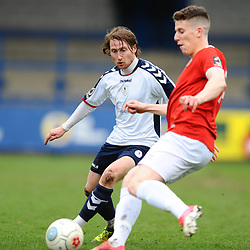 TELFORD COPYRIGHT MIKE SHERIDAN 9/3/2019 - James McQuilkin of AFC Telford closes down Tom Peers (formerly of FC Telford United) during the National League North fixture between AFC Telford United and FC United of Manchester (FCUM) at the New Bucks Head Stadium