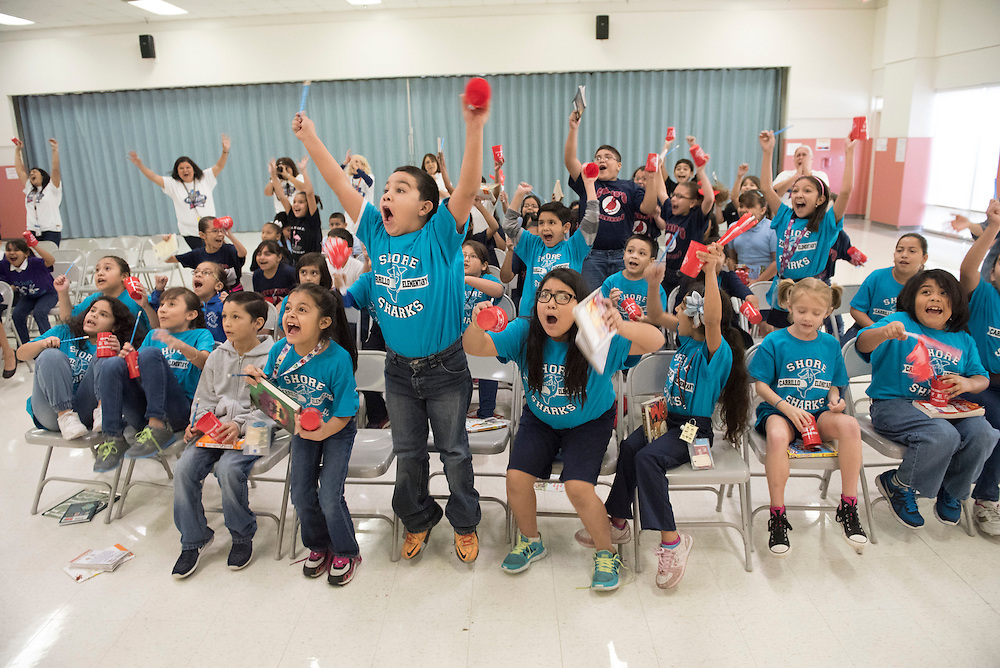 Carillo Elementary Students learn they are in the lead for the NCAA Read to the Final Four Challenge.