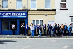 Everton fans queue outside a chip shot outside Goodison Park - Mandatory by-line: Robbie Stephenson/JMP - 01/09/2019 - FOOTBALL - Goodison Park - Liverpool, England - Everton v Wolverhampton Wanderers - Premier League