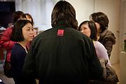 Tokyo, Japon, 30 janvier 2010 - Salon du chocolat au grand magasin de luxe Isetan, Shinjuku, 2 semaines avant la St Valentin. Sebastien Bouillet, un des quatre patissiers francais ayant une boutique chez Isetan, avec le public apres sa demonstration.