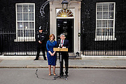 British Prime Minister Gordon Brown supported by his wife Sarah on 11th May 2010 informs the worlds media that he is going to Buckingham Palace to offer his resignation as Prime Minister. © under license to London News Pictures.