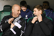 Gary McAllister and Steven Gerrard during the Ladbrokes Scottish Premiership match between Hibernian and Rangers at Easter Road, Edinburgh, Scotland on 19 December 2018.