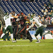 26 November 2016: The San Diego State Aztecs football team closes out the season at home against Colorado State.  San Diego State running back Rashaad Penny (20) rushes the ball in the second quarter. The Aztecs trail the Rams 42-24 at halftime. www.sdsuaztecphotos.com