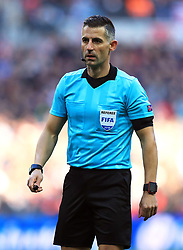 Match referee Tasos Sidiropoulos during the UEFA Nations League, Group A4 match at Wembley Stadium, London. PRESS ASSOCIATION Photo. Picture date: Sunday November 18, 2018. See PA story SOCCER England. Photo credit should read: Mike Egerton/PA Wire. RESTRICTIONS: Use subject to FA restrictions. Editorial use only. Commercial use only with prior written consent of the FA. No editing except cropping.