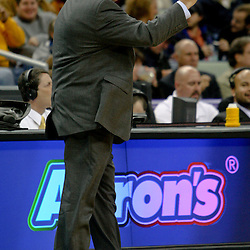 Dec 16, 2009; New Orleans, LA, USA; New Orleans Hornets head coach Jeff Bower reacts to an officials call during the first half against the Detroit Pistons at the New Orleans Arena. Mandatory Credit: Derick E. Hingle-US PRESSWIRE