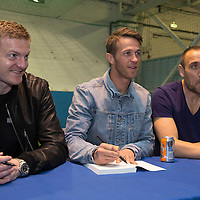 St Johnstone's Brian Easton, Chris Millar and Lee Croft at the launch of 'Our Day In May' which tells the story of St Johnstone's Scottish Cup win exactly one year ago today...17.05.15<br /> Picture by Graeme Hart.<br /> Copyright Perthshire Picture Agency<br /> Tel: 01738 623350  Mobile: 07990 594431