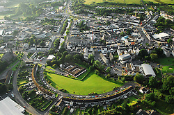 Aerial view of Westport County Mayo, St Mary's crescent in the foreground