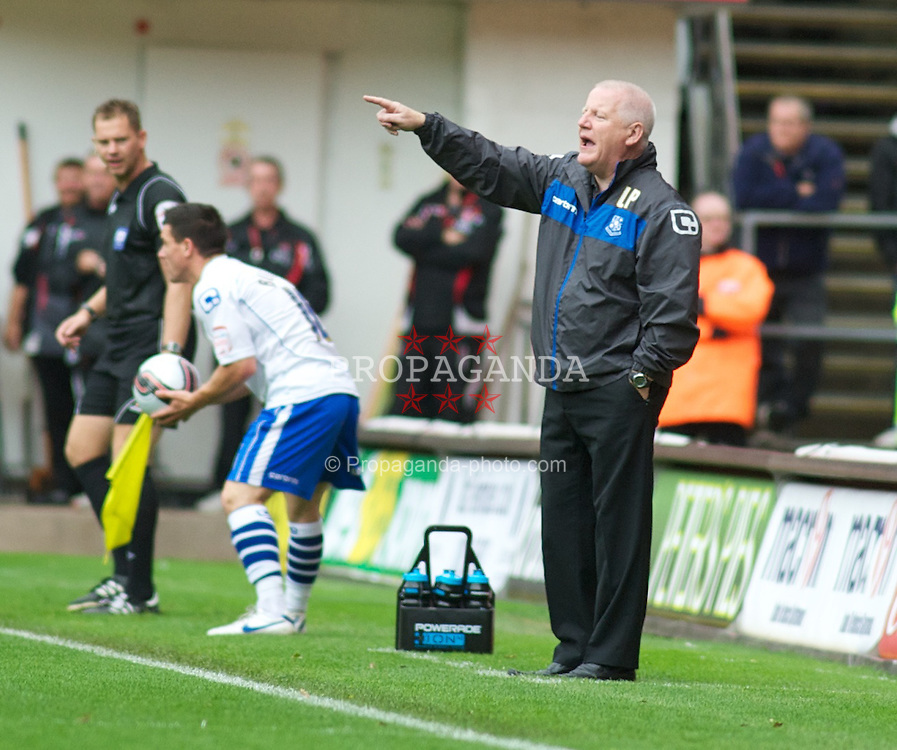 LONDON, ENGLAND - Saturday, October 8, 2011: Tranmere Rovers' Manager Les Parry shouts out orders from the bench during the Football League One match at The Valley. (Pic by Gareth Davies/Propaganda)