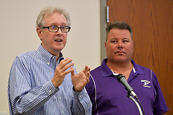 Consultant Thomas Frawley and developer Manny DeMutis present plans for the extension of rail commuter service from Philadelphia to Phoenixville, at a bourough meeting in Phoenixville, PA, on August 21, 2018.