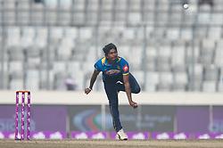 January 25, 2018 - Dhaka, Dhaka, Bangladesh - Sri Lankan cricketer Lakshan Sadakan bowling during the 6th ODI match in the Tri-series between Sri Lanka vs Bangladesh at the Sher-e-Bangla National Cricket Stadium in Mirpur, Dhaka on 25th  January 2018. (Credit Image: © Sameera Peiris/Pacific Press via ZUMA Wire)