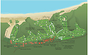 Vector map of the Torrey Pines Golf Course, a 36-hole municipal public golf facility owned by the city of San Diego, California. It sits on the coastal cliffs overlooking the Pacific Ocean in the community of La Jolla, south of Torrey Pines State Reserve..