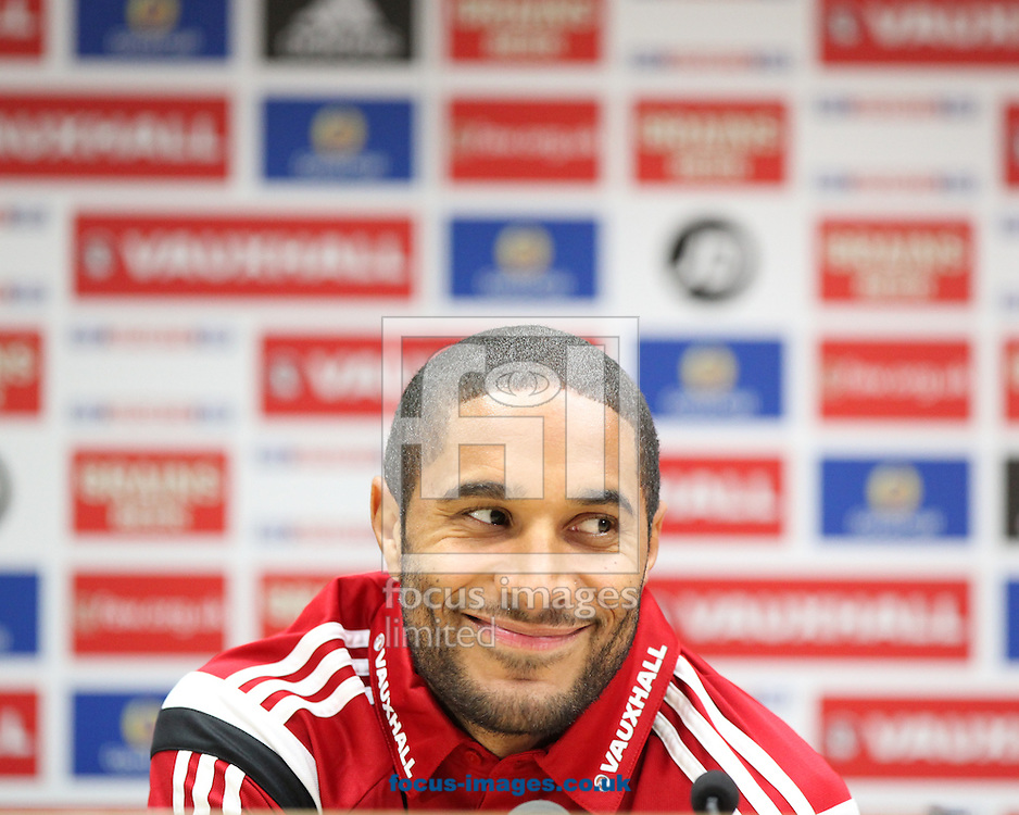Picture by Mark Hawkins/Focus Images Ltd 07949 023795<br /> 15/11/2013<br /> Ashley Williams pictured during Wales press conference at Cardiff City Stadium, Cardiff.