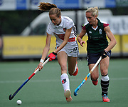 Surbiton's  Jo Hunter challenges with Amsterdam's Felice Albers during the bronze medal match at the EHCC 2017 at Den Bosch HC, The Netherlands, 5th June 2017
