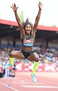 Catarine Ibarguen (COL) places second in the women's long jump at  22-3¾ (6.80m) during the Grand Prix Birmingham in an IAAF Diamond League meet in Birmingham, United Kingdom, Saturday, Aug. 18, 2018. (Jiro Mochizuki/mage of Sport)