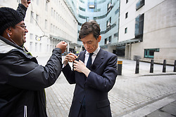 © Licensed to London News Pictures. 14/06/2019. London, UK. Leadership candidate RORY STEWART MP is seen preparing to talk to media at BBC Broadcasting House in London following a BBC radio interview. Boris Johnson has cemented his position as favourite to become the next Prime Minster after winning a landslide in the first round of the conservative party's leadership race, with Jeremy Hunt a distant second. Photo credit: Ben Cawthra/LNP