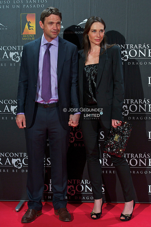 Dougary Scott and wife, Claire Forlani, attend the Premiere of 'There be dragons' at Capitol Cinema in Madrid