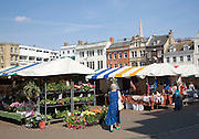 Market place in the historic city centre of Cambridge, England