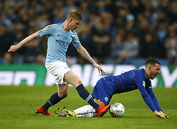 February 24, 2019 - London, England, United Kingdom - Chelsea's Eden Hazard gets tackled by Manchester City's Kevin De Bruyne.during during Carabao Cup Final between Chelsea and Manchester City at Wembley stadium , London, England on 24 Feb 2019. (Credit Image: © Action Foto Sport/NurPhoto via ZUMA Press)