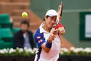 Paris, France. Roland Garros. June 1st 2013.<br /> Japanese player Kei NISHIKORI against Benoit PAIRE