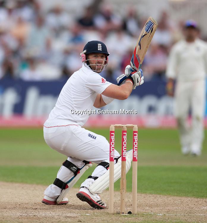 Matt Prior bats during the second npower Test Match between England and India at Trent Bridge, Nottingham.  Photo: Graham Morris (Tel: +44(0)20 8969 4192 Email: sales@cricketpix.com) 31/07/11
