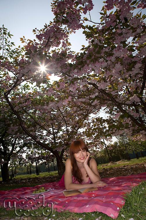 Woman Lying on a Blanket Among Cherry Trees