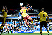 Birmingham City midfielder Jon Toral gets in a header during the Sky Bet Championship match between Birmingham City and Burnley at St Andrews, Birmingham, England on 16 April 2016. Photo by Alan Franklin.
