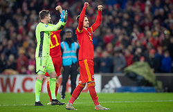 CARDIFF, WALES - Tuesday, November 19, 2019: Wales' Aaron Ramsey celebrates after the final UEFA Euro 2020 Qualifying Group E match between Wales and Hungary at the Cardiff City Stadium where Wales won 2-0 and qualified for Euro 2020. (Pic by Laura Malkin/Propaganda)
