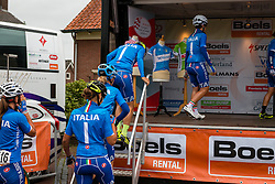 Riders of National Team Italy before the sign-on at the Holland Ladies Tour, Zeddam, Gelderland, The Netherlands, 1 September 2015.<br /> Photo: Pim Nijland / PelotonPhotos.com