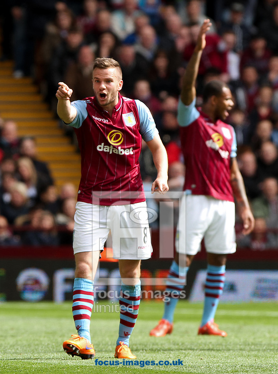 Tom Cleverley (left) of Aston Villa argues with the linesmen during the Barclays Premier League match at Villa Park, Birmingham<br /> Picture by Tom Smith/Focus Images Ltd 07545141164<br /> 09/05/2015