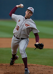 Virginia Tech pitcher Josh Wymer (16).  The #15 ranked Virginia Cavaliers baseball team defeated the Virginia Tech Hokies 10-1 at the University of Virginia's Davenport Field in Charlottesville, VA on March 28, 2008.