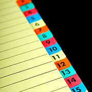 Office index tabs of various colors