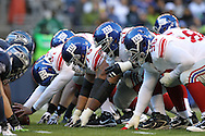 SEATTLE - NOVEMBER 7: The field goal unit at the line of scrimmage of the New York Giants in action against theSeattle Seahawks at Qwest Field on November 7, 2010 in Seattle, Washington. The Giants defeated the Seahawks 41-7.(Photo by Tom Hauck) Player: