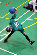 Mitglieder des ungarischen Goalball Teams beim Anwerfen w&auml;hrend dem internationalen Turnier in Budapest. Goalball ist eine Mannschaftssportart f&uuml;r blinde und sehbehinderte Menschen und wurde vom &Ouml;sterreicher Hans Lorenzen und dem deutschen Sepp Reindle f&uuml;r Kriegsinvalide entwickelt und zum ersten Mal 1946 gespielt. Die Bilder entstanden auf zwei internationalen Goalball Turnieren in Budapest und Zagreb 2007.<br /> <br /> Member of the hungarian Goalball team throwing a ball at the international tournament in Budapest. Goalball is a team sport designed for blind and visually impaired athletes. It was devised by an Austrian, Hanz Lorenzen, and a German, Sepp Reindle, in 1946 in an effort to help in the rehabilitation of visually impaired World War II veterans. The International Blind Sports Federatgion (IBSA - www.ibsa.es), responsible for fifteen sports for the blind and partially sighted in total, is the governing body for this sport. The images were made during two Goalball tournaments in Budapest and Zahreb 2007.