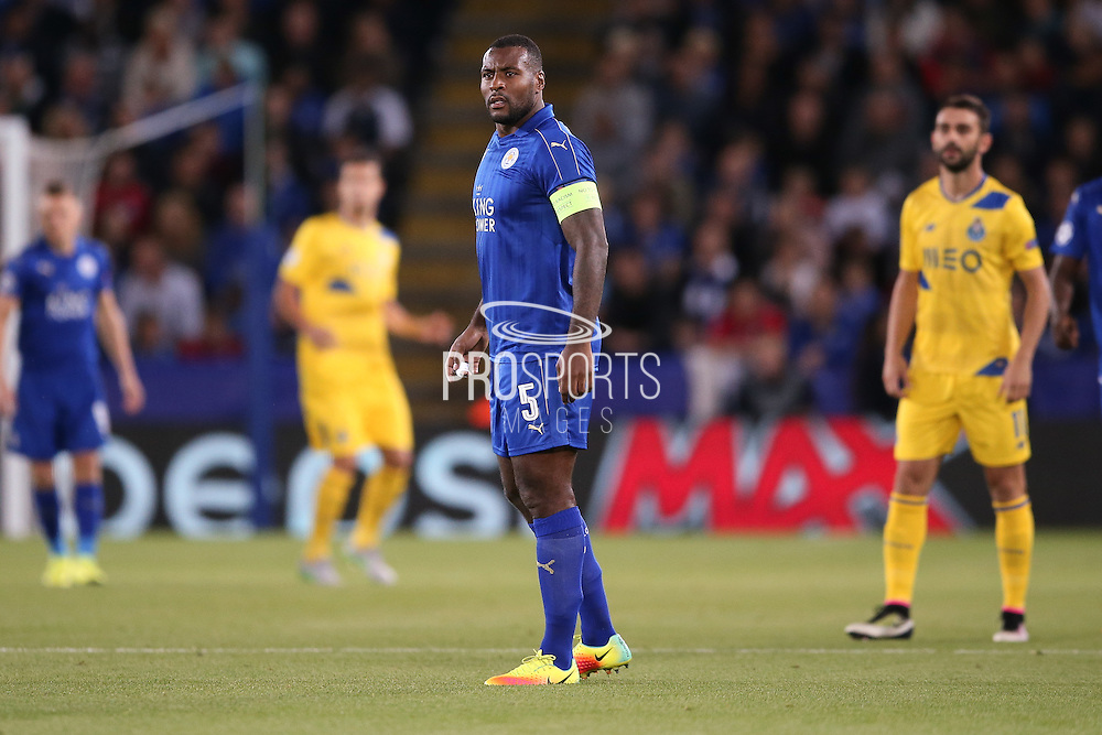 Leicester City defender Wes Morgan (5)  during the Champions League match between Leicester City and FC Porto at the King Power Stadium, Leicester, England on 27 September 2016. Photo by Simon Davies.