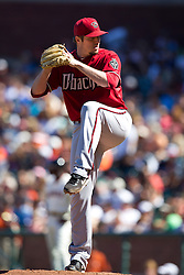 May 30, 2010; San Francisco, CA, USA;  Arizona Diamondbacks relief pitcher Chad Qualls (50) pitches against the San Francisco Giants during the ninth inning at AT&T Park.  San Francisco defeated Arizona 6-5 in 10 innings.