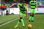 Forest Green Rovers Liam Shephard(2) passes the ball forward during the EFL Sky Bet League 2 match between Newport County and Forest Green Rovers at Rodney Parade, Newport, Wales on 26 December 2018.