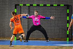 Jeffrey Boomhouwer of Nederland versus Klemen Ferlin of Slovenia during friendly handball match between Slovenia and Nederland, on October 25, 2019 in Športna dvorana Hardek, Ormož, Slovenia. Photo by Blaž Weindorfer / Sportida
