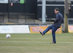 Bristol Rovers Manager Darrell Clarke test out the playing surface prior to kick off. - Mandatory byline: Alex James/JMP - 19/03/2016 - FOOTBALL - Rodney Parade - Newport, England - Newport County v Bristol Rovers - Sky Bet League Two