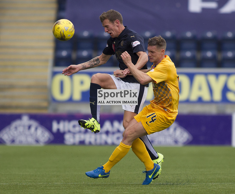 Aaron Moorhead of Falkirk and Michael Tidser of Morton battle for the ball during the Ladbrokes Scottish Championship match between Falkirk FC and Greenock Morton FC at Falkirk Stadium on October 17, 2015 in Falkirk, Scotland. Photo by Jonathan Faulds/SportPix