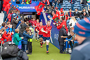 Peter O'Mahony (#6) of Munster Rugby leads his team out for the Heineken Champions Cup quarter-final match between Edinburgh Rugby and Munster Rugby at BT Murrayfield Stadium, Edinburgh, Scotland on 30 March 2019.