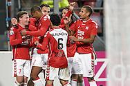15-10-2016: Voetbal: FC Utrecht v Go Ahead Eagles: Utrecht<br /> <br /> (L-R) FC Utrecht speler Rico Strieder wordt gefeliciteerd na zijn 2-0 tijdens het Eredivsie duel tussen FC Utrecht en Go Ahead Eagles op 15 oktober 2016 in stadion Nieuw Galgenwaard tijdens speelronde 9<br /> <br /> Eredivisie - Seizoen 2016 / 2017<br /> <br /> Foto: Gertjan Kooij
