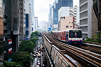 The BTS Sky Train makes its way through downtown Bangkok, Thailand.
